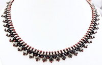 Egyptian Collar - Beadwork Necklace Kit with Kheops Par Puca and SuperDuo Beads (Red/Black/Gold)